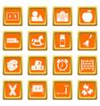 kindergarten symbol icons set orange vector image vector image