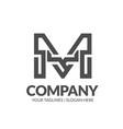 letter m geometric strong monogram logo vector image vector image