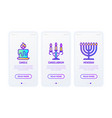 lighting line icons candle candelabrum menorah vector image vector image