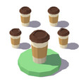 low poly isometric coffee cup vector image