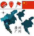 map of guangzhou with divisions vector image vector image
