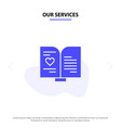 our services book love heart wedding solid glyph vector image
