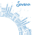Outline Sanaa Yemen Skyline with Blue Buildings vector image vector image