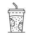 plastic smoothie glass icon outline style vector image vector image