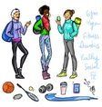 Pretty sporty women chatting vector image vector image