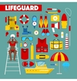 Profession Lifeguard Water Rescue Icons vector image vector image