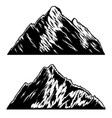 set mountains in engraving style design vector image