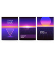 set retro futuristic covers abstract digital vector image