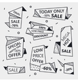 set sale origami outline banners vector image vector image