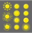 set yellow suns vector image vector image
