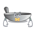 silent frying pan wok isolated on mascot vector image vector image