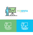 simple teacher or man with presentation logo vector image