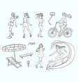 sketch girls summer leisure activity set vector image vector image