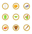 sport equipment icons set cartoon style vector image vector image