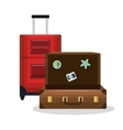 suitcase old and suitcase red with wheels design vector image