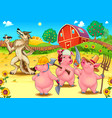 three little pigs and bad wolf vector image