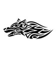 tribal tattoo art with stylized black wolf head vector image vector image