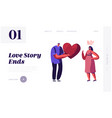 unrequited one side love website landing page vector image