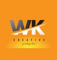 wk w k letter modern logo design with yellow vector image vector image
