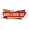 world book day banner design vector image