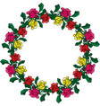 wreath of red yellow and pink roses vector image