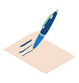 write pen icon isometric 3d style vector image vector image