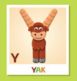 y is for yak letter y yak cute vector image