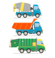 cartoon transport set mixer truck dump truck vector image