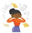 african-american woman calculating home bills vector image vector image
