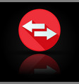 arrow icon red sign with reflection on black vector image vector image