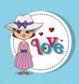 beautiful girl with love frame kawaii character vector image vector image