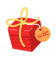 big red present for sale on white background vector image