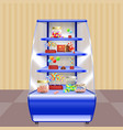 blue shelves with candies vector image vector image