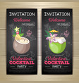 chalk drawing flat cocktail valentine party poster vector image vector image