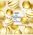 Christmas background with tree balls golden ball