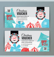 christmas voucher template santa on badge vector image