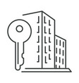 city apartment building and key isolated icon vector image vector image
