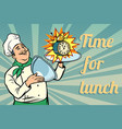 clock time for lunch chef with tray with lid vector image