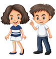 cute boy and girl with happy face vector image vector image
