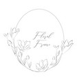 delicate floristic round frame with flowers vector image vector image