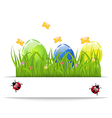 Easter colorful eggs in green grass with space for vector image vector image