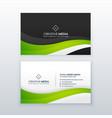 elegant green wave business card design vector image vector image