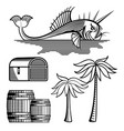 fish treasure chest barrels and palm tree vector image vector image