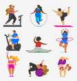 fitness fat girls plus size health sport in club vector image vector image