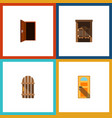 flat icon door set of approach saloon exit and vector image