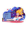 flat young woman with computer and cup tea vector image