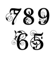 floral font numbers vector image vector image