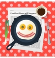 Funny breakfast smiling face make with fried eggs vector image