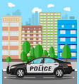 generic police car at cityscape background vector image vector image