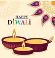 happy diwali flowers mandala diya lamps light vector image vector image